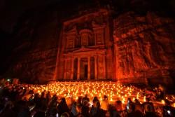 The Treasury by night. Petra, Jordan
