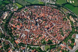 Nordlingen – The town inside a meteorite crater, Germany. The town of Nordlingen in the Do ...