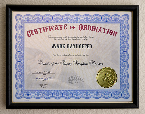 Church of the Flying Spaghetti Monster Certificates of Ordination