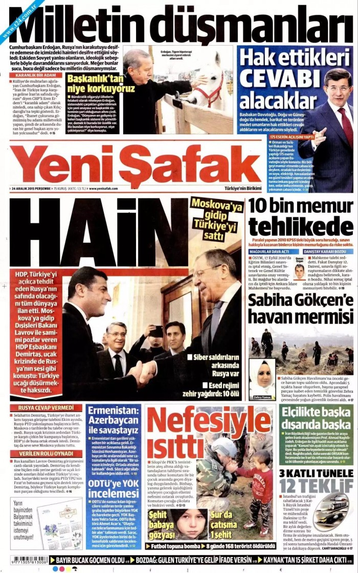 That awkward moment after the Pres visits Putin when just a while ago, Pro AKP press had declare ...