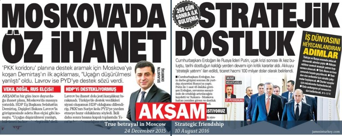 How headlines change: Turkey's pro-govt Akşam on Demirtaş-Lavrov December 2015 meeting and ...