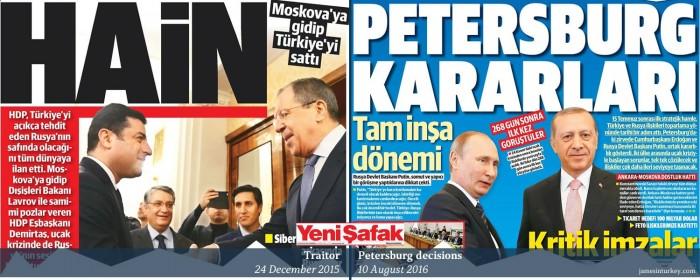 How headlines change: Turkey's pro-govt Yeni Şafak on Demirtaş-Lavrov December 2015 meetin ...