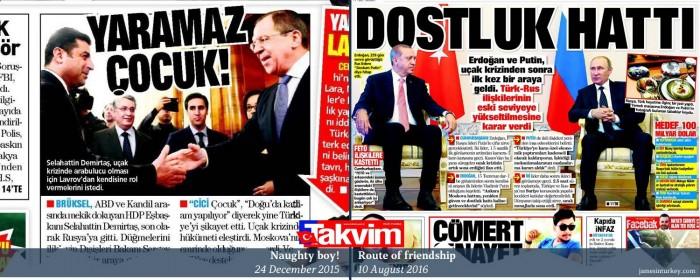 How headlines change: Turkey's pro-govt Takvim on Demirtaş-Lavrov December 2015 meeting an ...