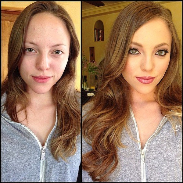 15 Mindblowing Pictures of Porn Stars Before and After They Put on Makeup
