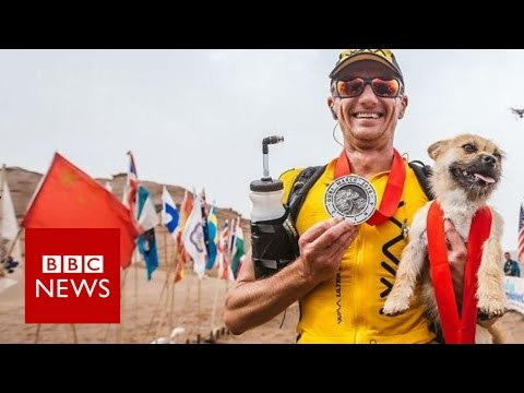 Stray dog joined extreme runner during China race – BBC News – YouTube