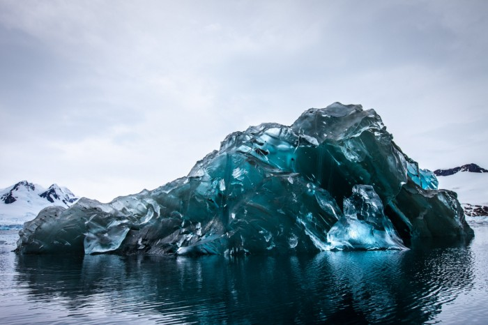 An extremely rare flipped over iceberg in Antarctica.