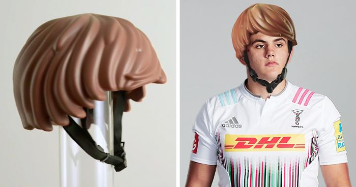 Someone Made A Real-Life LEGO Hair Bike Helmet That Turns You Into A LEGO Figure | Bored Panda