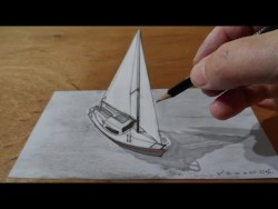 Draw a 3D Sailboat, Trick Art – YouTube