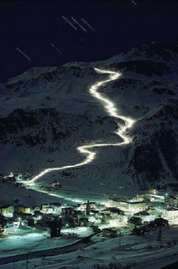 Night skiing in Val d'Isere, France