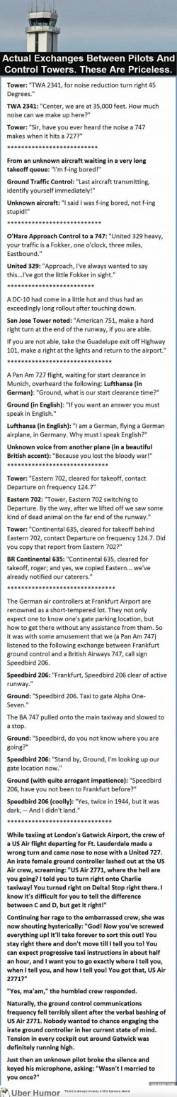 Actual exchanges between pilots and control towers