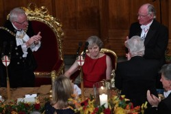 Theresa May condemns 'global elite' while surrounded by men in white tie, ermine, an ...