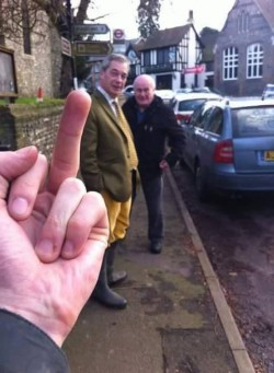 'Man of the people' Nigel Farage on his way to join the Boxing Day fox hunt…