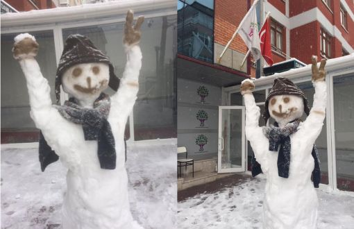 No Permission for Snowperson in Front of HDP Building – english