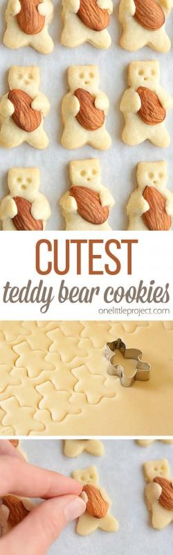The CUTEST Teddy Bear Cookies | Almond Hugging Teddy Bear Cookies
