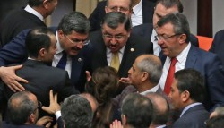 [VIDEO] AKP deputy attacks CHP female lawmaker during amendment vote altercation – Turkish ...