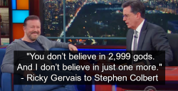Ricky Gervais and Stephen Colbert Debate Atheism