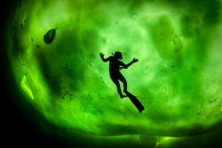 A divers silhouette against ice being illuminated by the northern lights