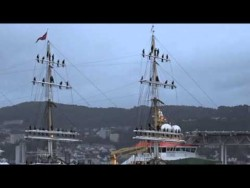 Tall ship arriving in Bergen, Norway, after a three month journey across the Atlantic.