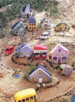 Rock painting village