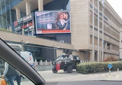 Turkish hospitality at a shopping mall, a police tank with remote controlled machine draped in a ...