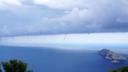 Wow, 7 water spouts spotted on the storm front in Antalya today (Gelidonia Lighthouse)