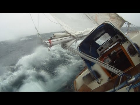 A scary Heave to in heavy seas