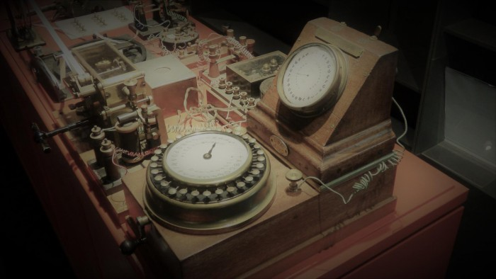 An 1800s telegraph machine