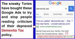 The sneaky Tories are trying to stop people reading criticism of their depraved Dementia Tax