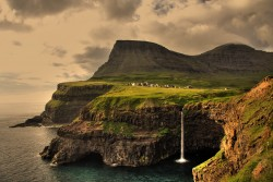 Gásadalur, a village in the Faroe Islands, only 16 people live here