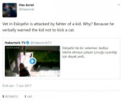 How dare the vet teach the child that animal abuse is wrong, his father is probably a goat fucke ...