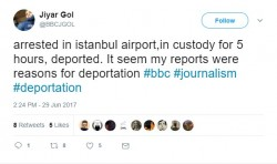 A BBC journo arrested in Istanbul, par for the course in Erdolfs Turkey