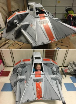 A father built a snow speeder out of cardboard for his daughter.