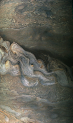 This image was captured by the Juno spacecraft during Perijove 6 at an altitude of 8901.1 km on  ...