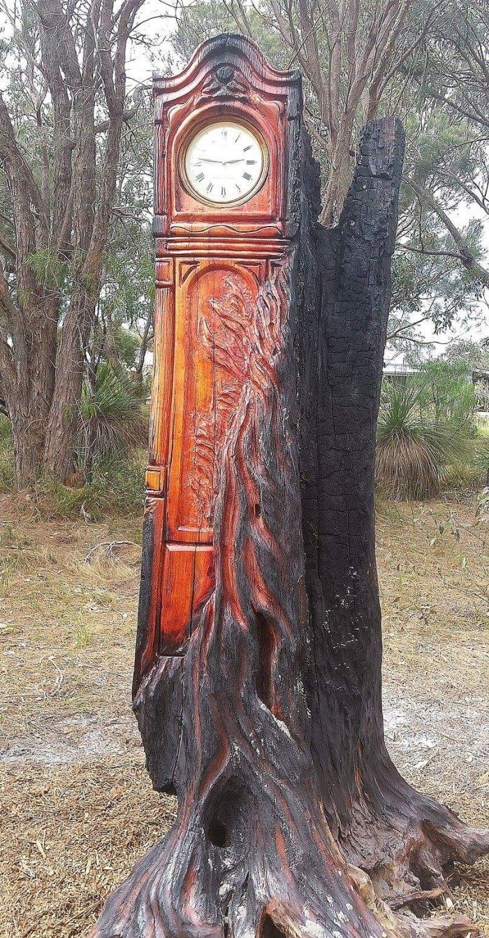 """Finding Time"" Chainsaw art"