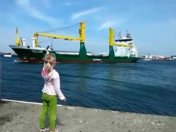 Girl honks at ship – YouTube
