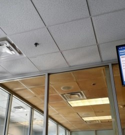 What the ceiling of this airport's smoking area looks like