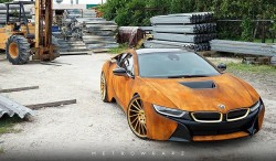 This rust wrapped BMW I8 looks gorgeous