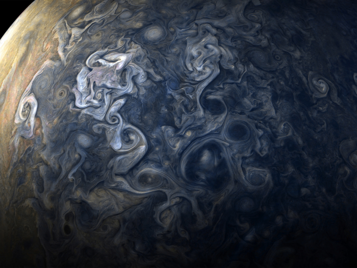 Jupiter's clouds as captured by NASA's Juno spacecraft