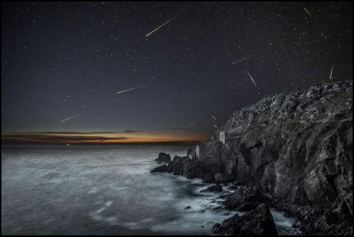 Meteors over Bottalack Crown Engine houses