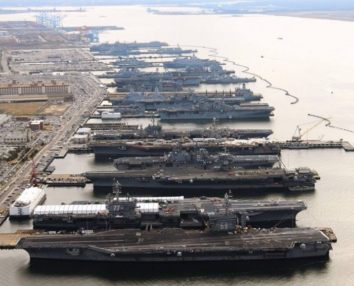 That's a lot of aircraft carriers! I've been on CVN-77 in the foreground, amazing ships.