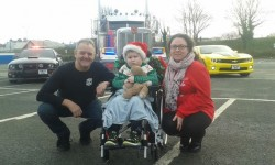 Optimus Prime rolls into town to give terminally-ill little boy Daniel Downing the most amazing  ...