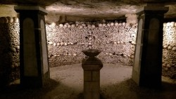This basin of cave water dripping from the ceiling in the catacombs.