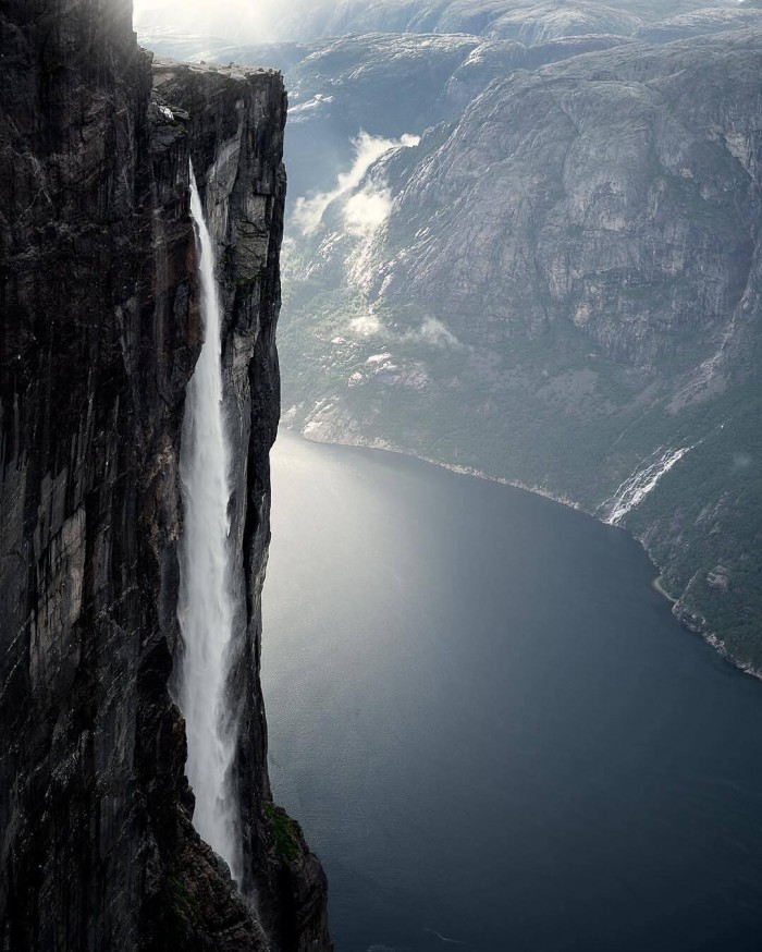 1000 metre wall towering above Lysefjord, South Norway