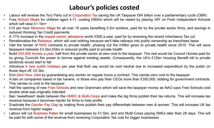 When the Tories haven't said how they will pay for anything, Labour have a fully costed ma ...