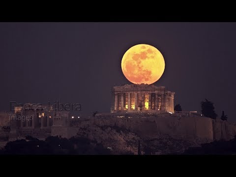 4K: Super Blue Blood Moon rises behind the Acropolis in Greece – YouTube