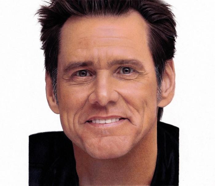 Jim Carrey Portrait, Colored Pencils 14x20cm