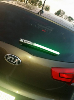 Light Saber WiperTag covers attach to rear wipers blades – WiperTags
