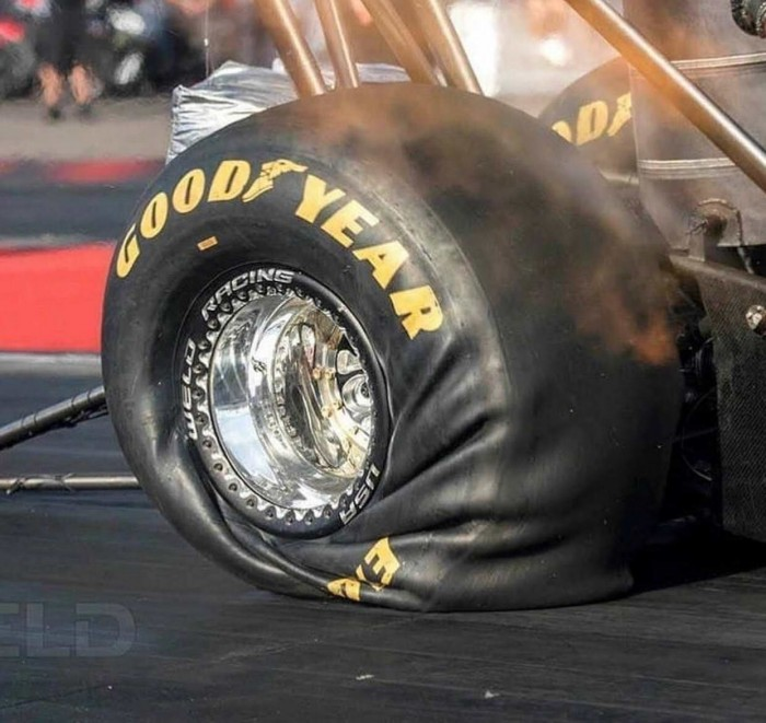 What 10,000 horsepower does to a top fuel drag tire at launch.