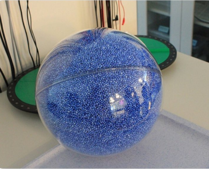 Clear ball is the Sun. Blue balls are Earth