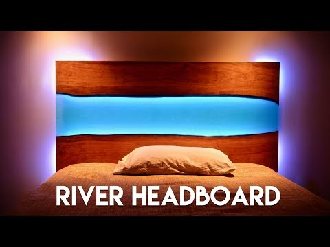 Live Edge Epoxy River Headboard with LED Lights // How To Build – Woodworking – YouTube